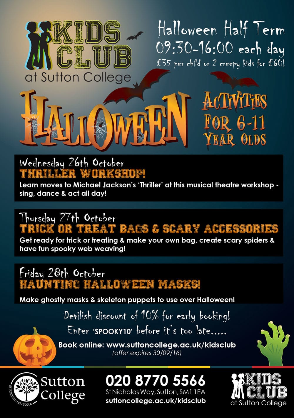 Halloween Holiday Club for Little Horrors!! :: Sutton College ...